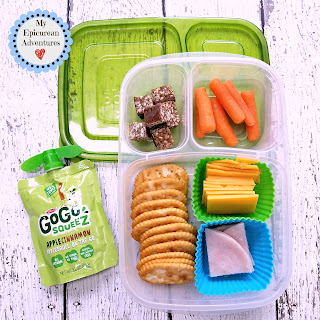 Lunch box fun with cheese and cracker lunchables. SO much better than the store-bought kind. In our @easylunchboxes #lunchboxideas