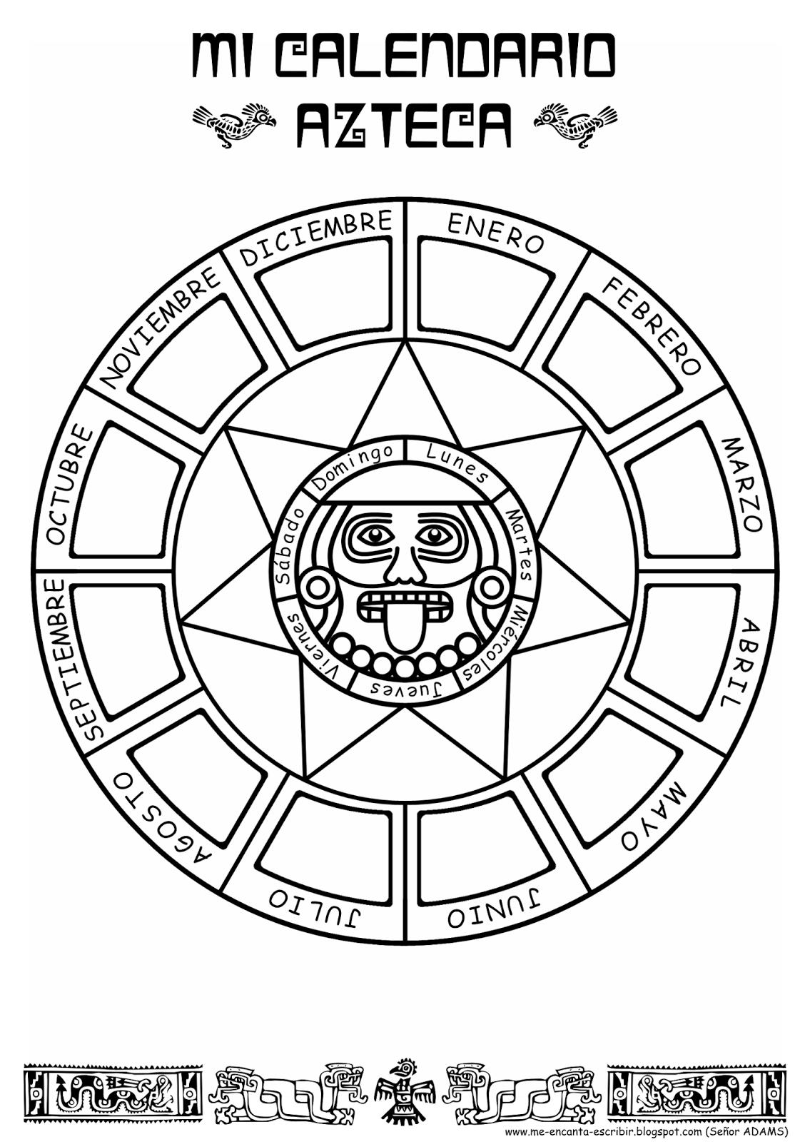 Me encanta escribir en español: Mi calendario Azteca