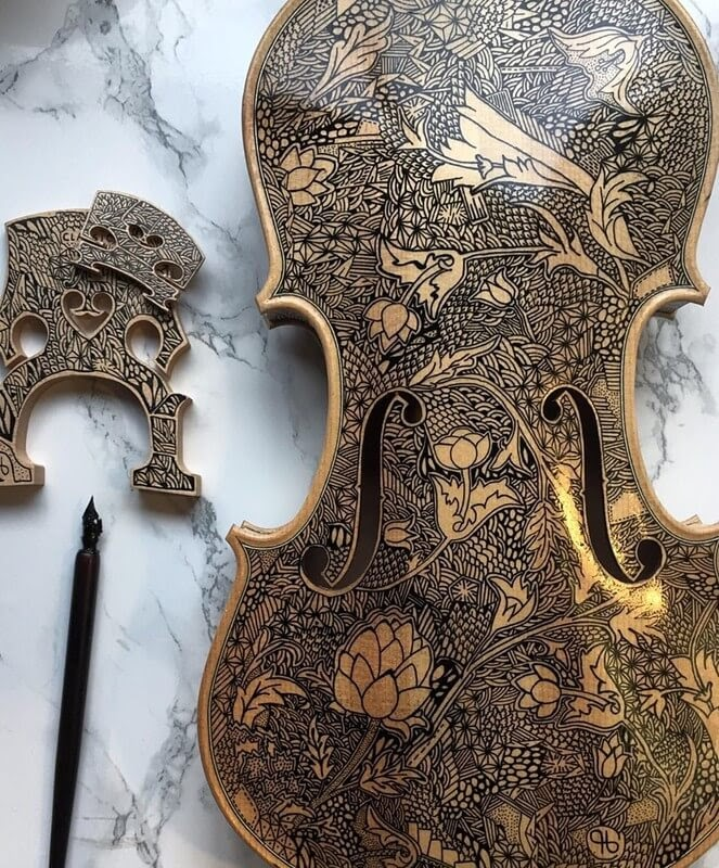 10-Inspired-by-W-Morris-Leonardo-Frigo-Freehand-Drawings-on-Violins-www-designstack-co
