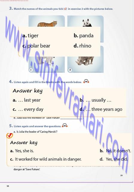 7. Sınıf Pantera Yayınları İngilizce Ders Kitabı Cevapları Sayfa 39