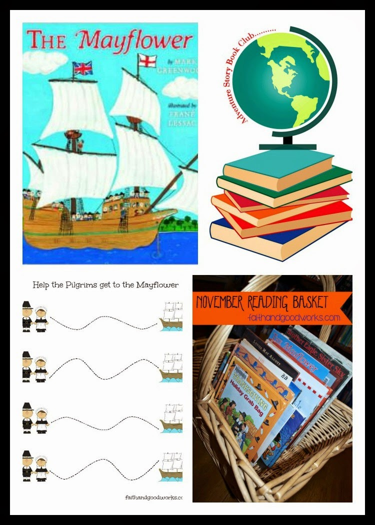 Adventure Story Book Club ~ Pilgrims & Indians Theme {Free Printables + Activity & Craft Round-Up}