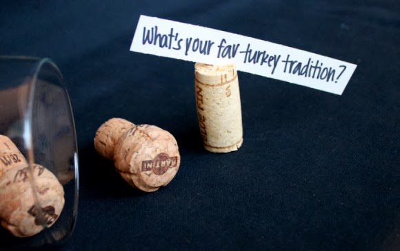 Wine cork table topics.