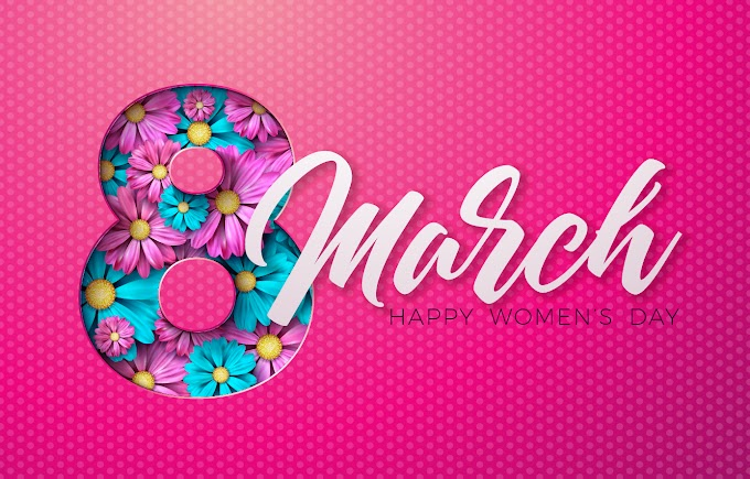 women's day vector 8 March women day card with flower design free vector