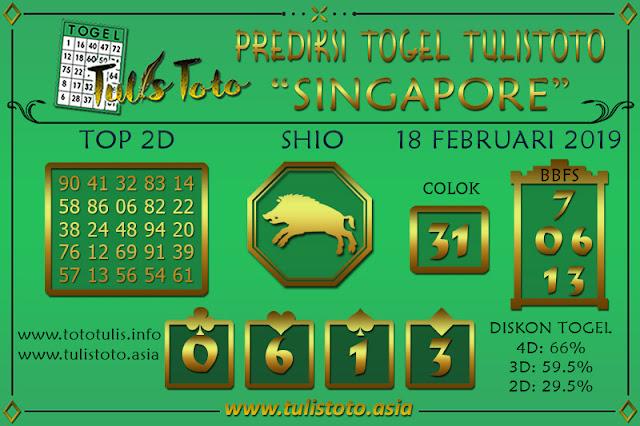 Prediksi Togel SINGAPORE TULISTOTO 18 FEBRUARI 2019