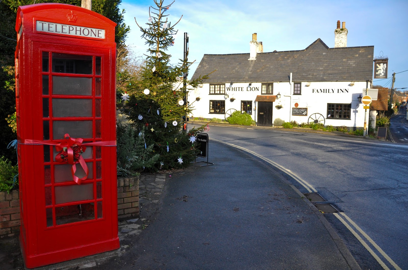The village of Niton decorated for Christmas, Isle of Wight, England
