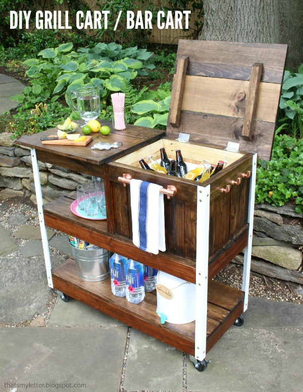 diy grill cart with free plans and cooler storage
