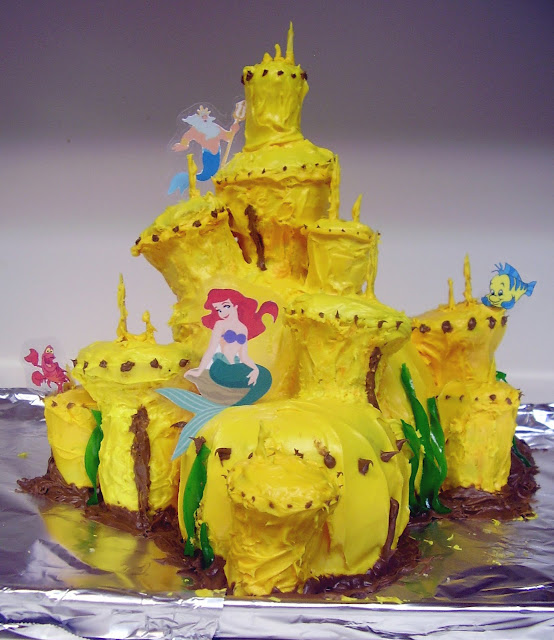 Ariel, The Little Mermaid, King Triton's Castle Cake 1