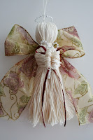 Crochet thread and ribbon angel
