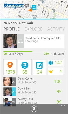 Foursquare v3.0 for Windows Phone