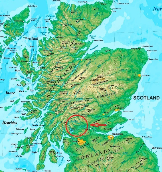 Map of Scotland showing the location of the Trossachs