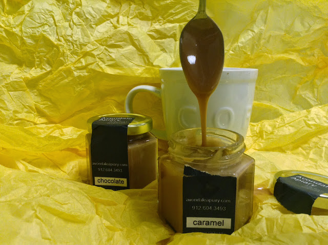 Caramel and chocolate creamed flavored honey from Avondale Apiary