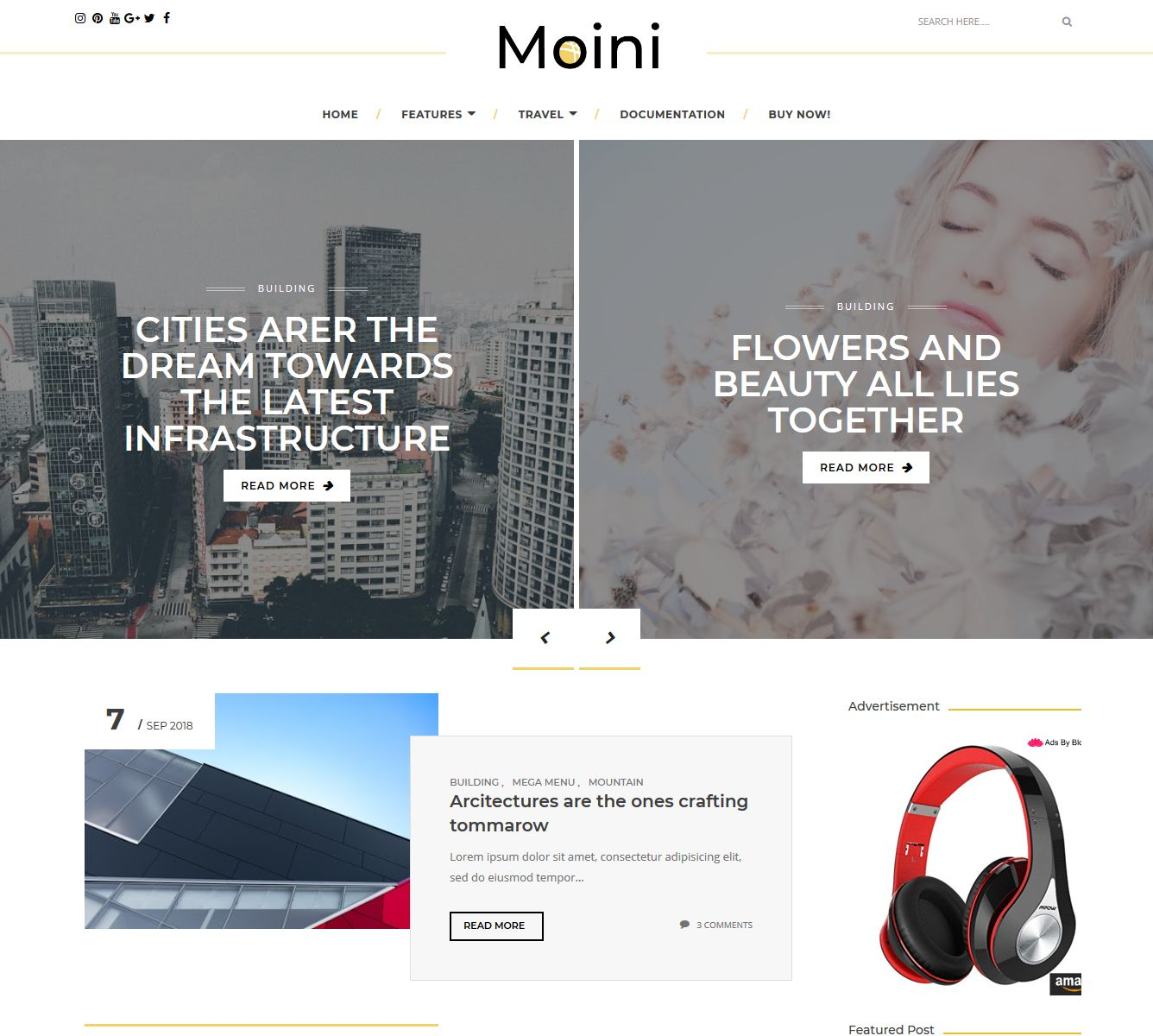 Moini is the latest blogger template powered amongst the latest blogger update version  Free Download Moini Blogger Template