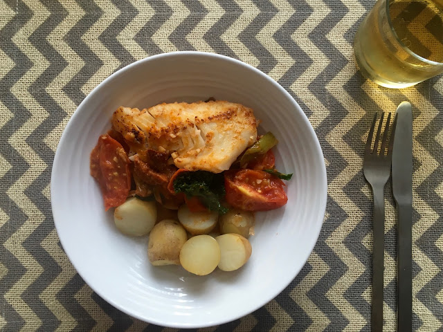 Heirloom tomatoes with cod, chorizo and kale