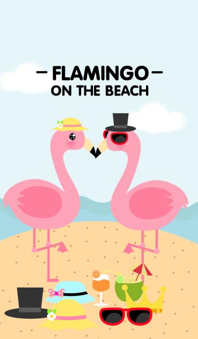 Cute Flamingo on the beach Theme V.2
