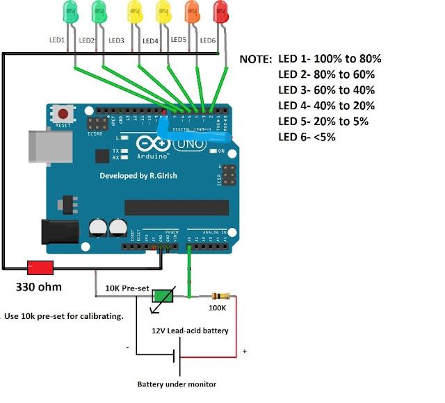 Code 3 Supervisor Wiring Diagram Battery Level Indicator Circuit Using Arduino Electronic