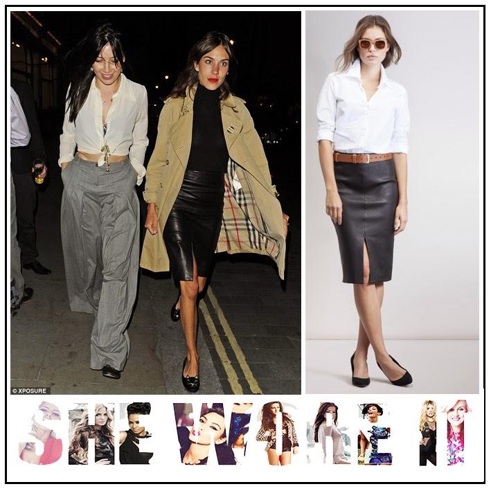 Alexa Chung, BAUJKEN, Black, Front Split, High Waisted, Leather, Leather Skirt, Pencil Skirt, Skirt,
