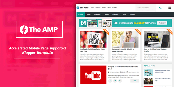 The AMP High Quality and AMP Supported Blogger Template