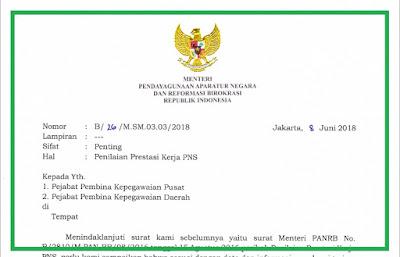 SE Nomor: B/26/M.SM.03.03/2018 Tentang Penilaian Prestasi Kerja PNS