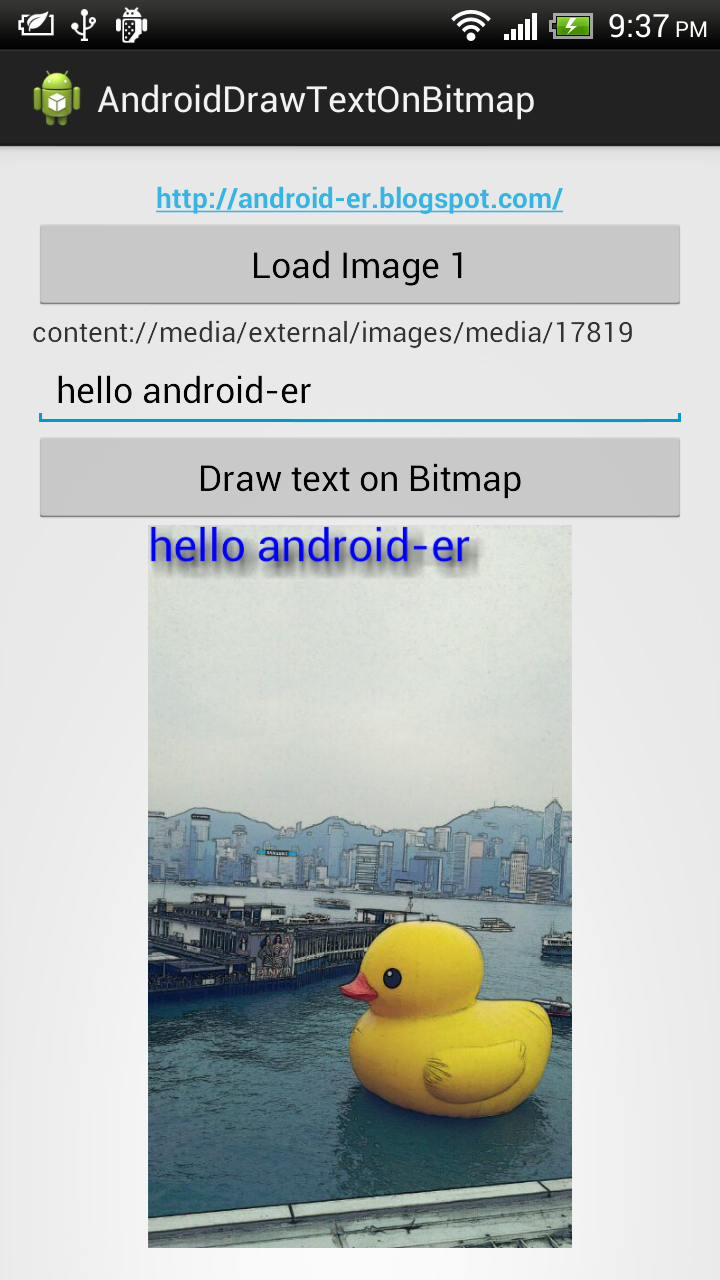 Android-er: Draw text on bitmap using Canvas drawText()