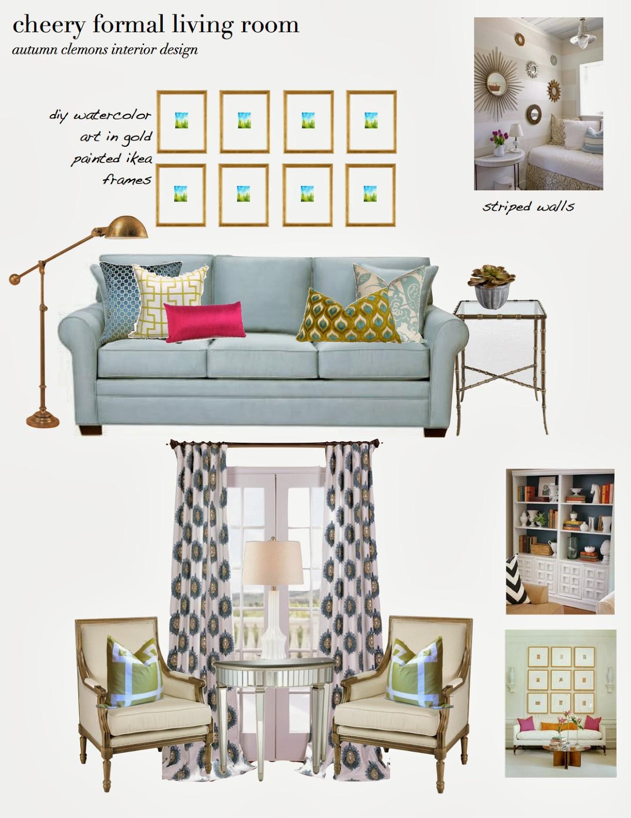 Room Design Program: Design Dump: Design Plan: Cheery Formal Living Room