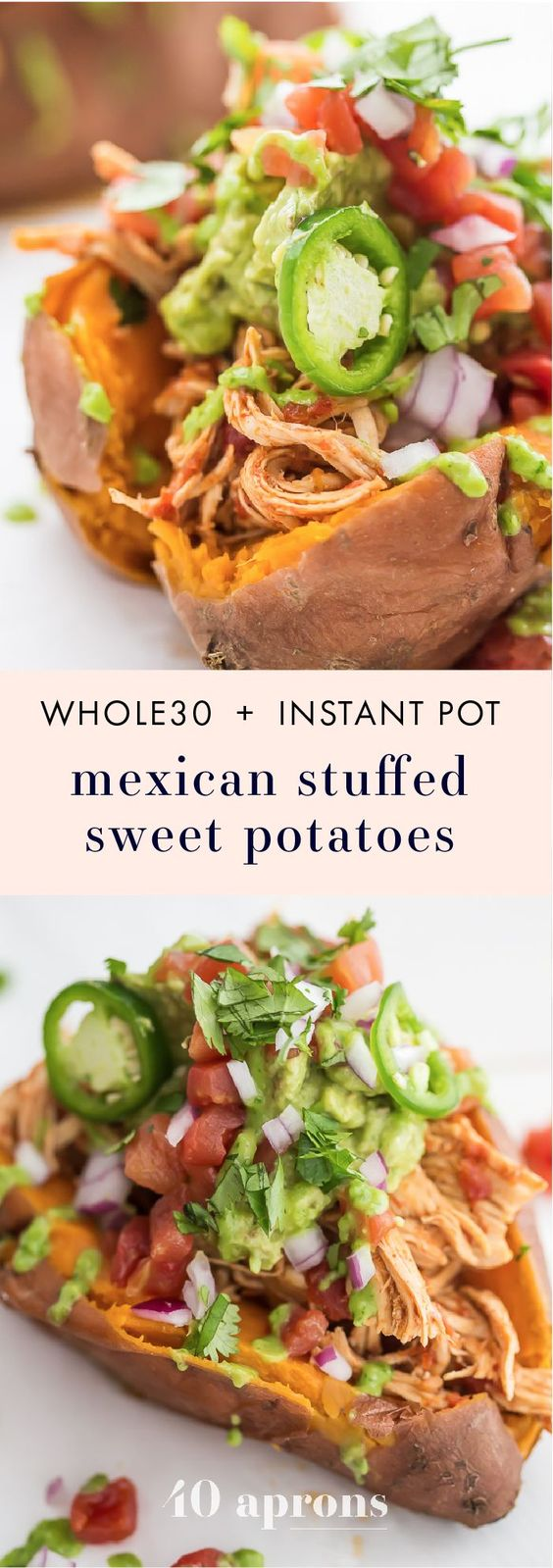 Mexican Chicken Stuffed Sweet Potatoes (Whole30, Paleo, Instant Pot)
