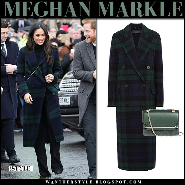 Meghan Markle in navy and green tartan plaid burberry coat with green crossbody bag strathberry roayl family fashion february 13