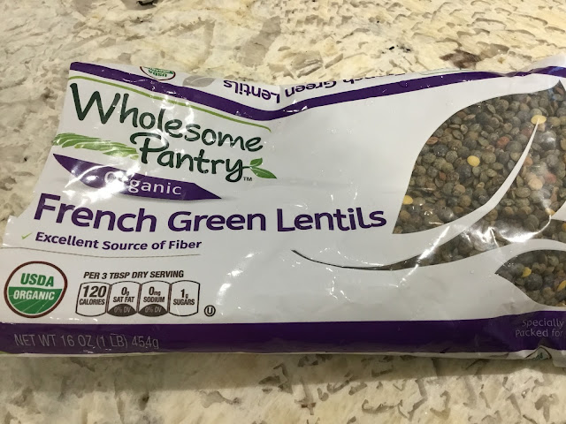 French green lentils in a bag