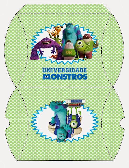 Universidad de Monstruos: Divertidas Cajas para Imprimir Gratis.