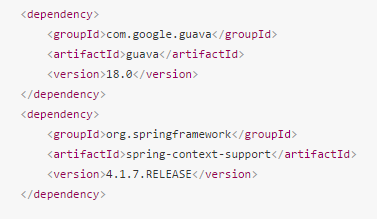 Add dependencies to your pom.xml for google guava cache and helper spring methods