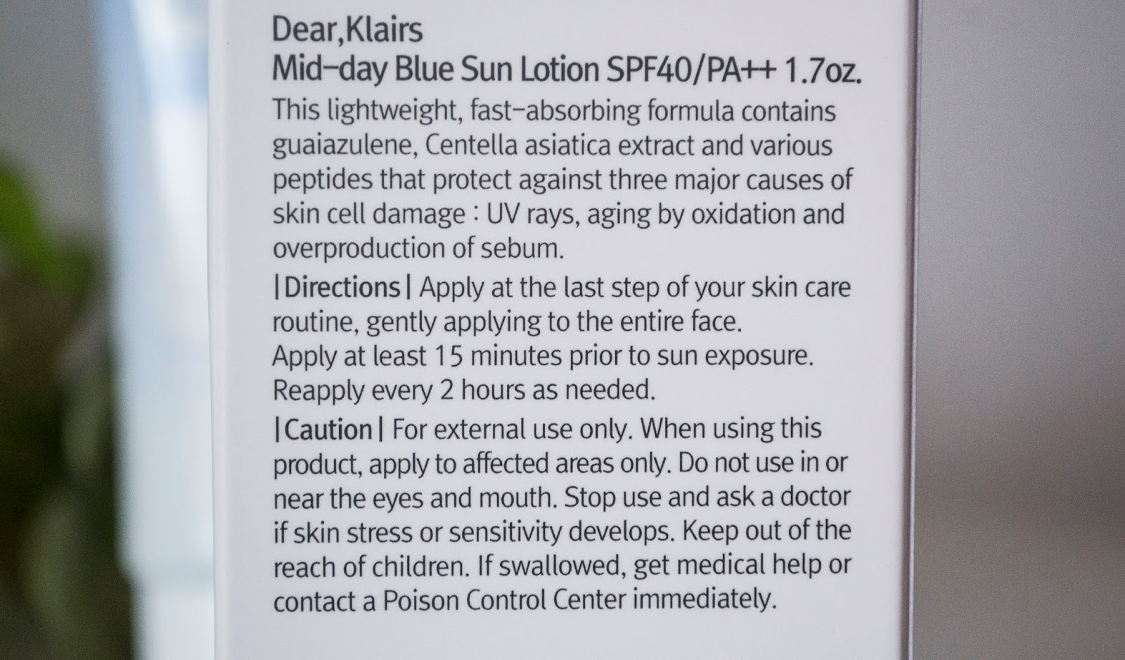 Información general mid-day sun lotion de Klairs