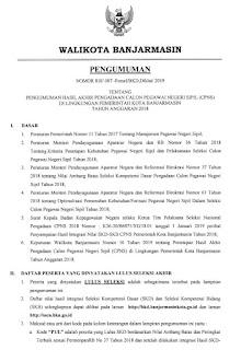 Pengumuman Hasil Akhir Seleksi CPNS Kota Banjarmasin