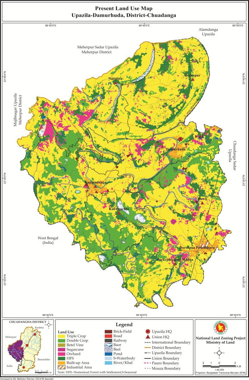 Damurhuda Upazila Land Use Mouza Map Chuadanga District Bangladesh