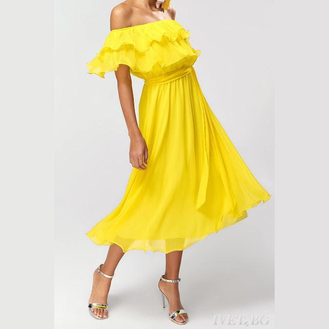 Εντυπωσιακό μίντι κίτρινο φόρεμα DENICA