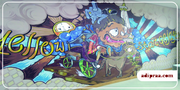 Mural Tugu Jogja di Hotel Yellow Star Gejayan | adipraa.com