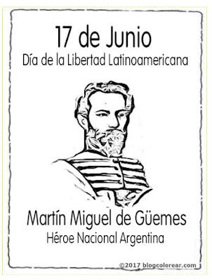 colorear dibujos de Martín Miguel de Güemes