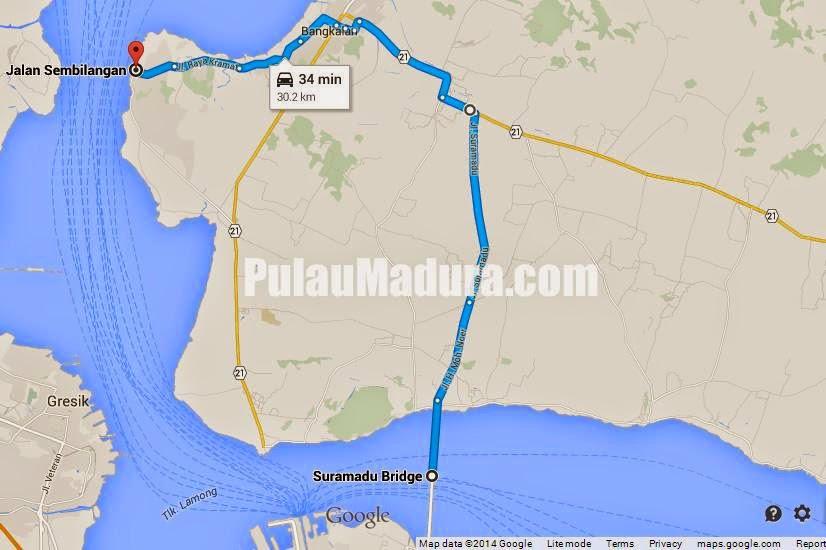 Google Maps Peta menuju Mercusuar Bangkalan