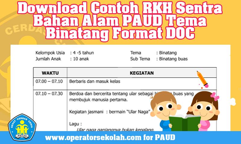Download Contoh RKH Sentra Bahan Alam PAUD Tema Binatang Format DOC.jpg