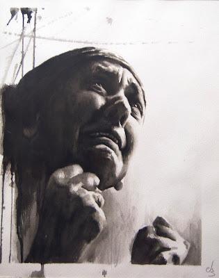 retrato en acuarela en blanco y negro de una mujer llorando.