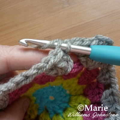 Slip stitch in a piece of crocheted work