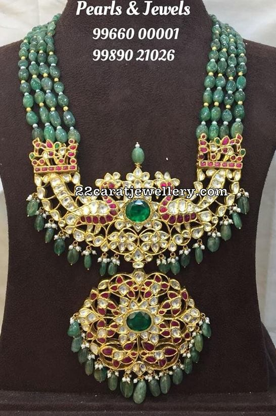 Four Layers Emerald beads Kundan Mala