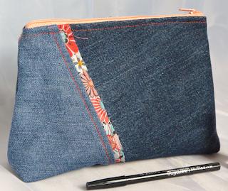 Trousse de maquillage en Jeans liseré japonais