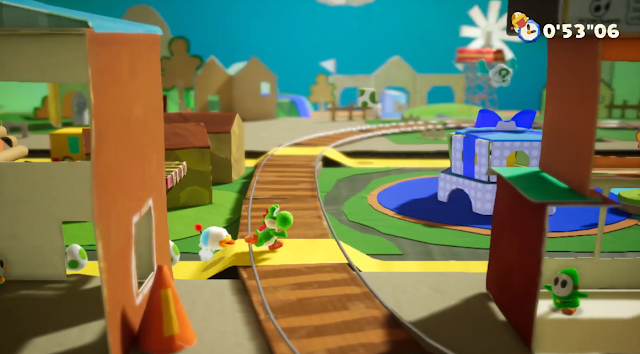 Yoshi's Crafted World Nintendo Switch Poochy railroad tracks
