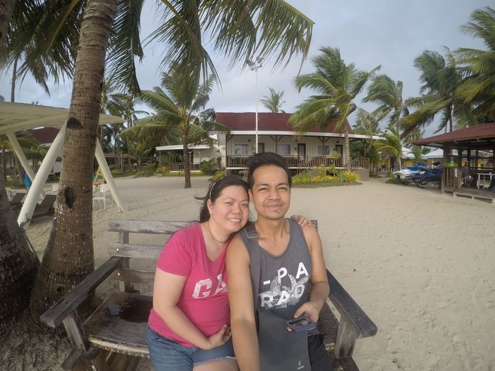Strolling along the beach at Anika Island Resort
