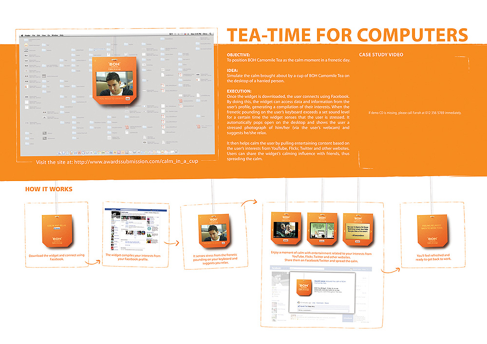 A Clever Way To Market Calm BOH Camomile Tea Bags And Widget - personal interests