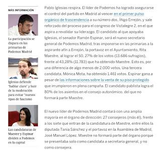 Resultados de las primarias de Podemos celebradas en Madrid, Ramón espinar, Rita Mestre