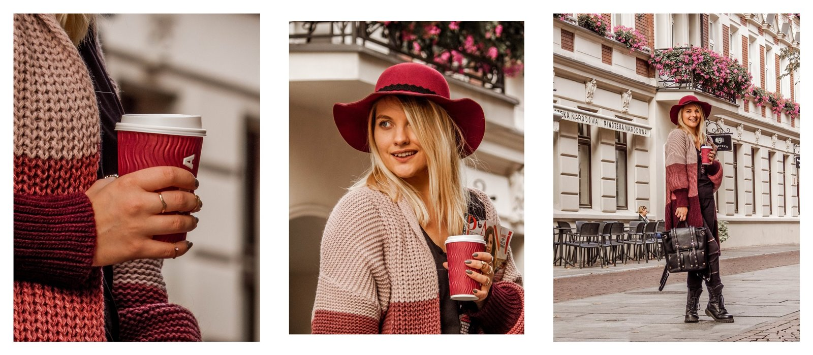 2a kardigan sweter w paski czerwony kapelusz bordowy sweter długi czarne spodnie z dziurami miejski street style styl outfit moda inspiracje pomysły łódź fotografia blog influencer modowe blogerki lifestyle podróż