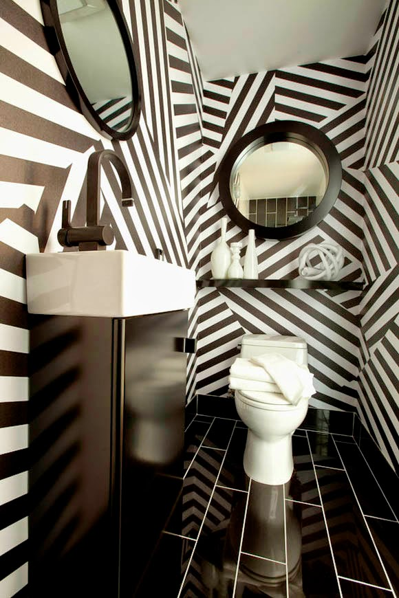 contemporary black and white wallpaper for bathroom decor