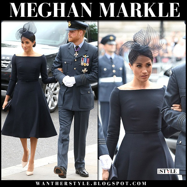 Meghan Markle in black boatneck dress dior royal fashion westminster abbey service july 10