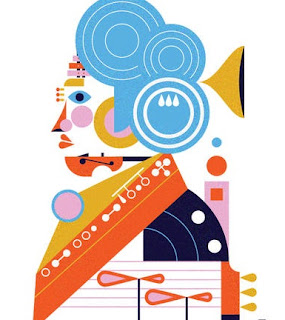 Illustration of Beethoven made up of instruments and Barbican architectural features