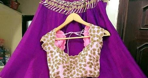 Purple Lehenga With Thread Work Saree Blouse Patterns